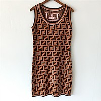 FENDI Summer Fashion Women Sexy F Letter Jacquard Sleeveless Round Collar Knit Dress Coffee