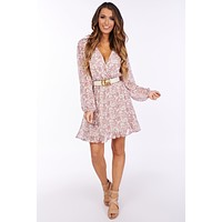 Legendary Love Swiss Dot Floral Dress (Mauve Multi)