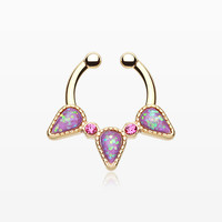 Golden Opal Sparkle Trident Fake Septum Clip-On Ring