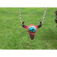 Bull Skull Copper Turquoise Silver Pendant Necklace