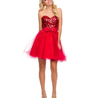 Red Strapless Sweetheart Sequin Tulle Dress 2015 Prom Dresses
