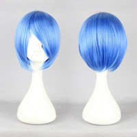 Neon Genesis Evangelion Ayanami Rei 30cm Short Cosplay Wig,Colorful Candy Colored synthetic Hair Extension Hair piece 1pcs WIG-069I