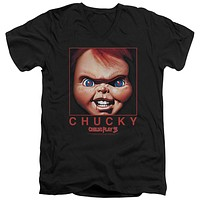 Childs Play Slim Fit V-Neck T-Shirt Chucky Portrait Black Tee