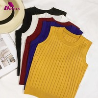 DORAN Summer Women Slim Knitting Cropped Tank Tops Female Knitted Camis Sleeveless Solid T Shirts Short Yellow Black Crop Tops
