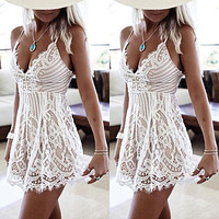 Women Casual Evening Party Short Mini Dress White Sexy Dresses Summer Sleeveless Lace