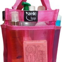 Shower Caddies Shower Tote Dorm Caddy - Mesh Shower Caddy - Quick Dry Hanging Toiletry Bag & Storage Totes Shower Caddy for College - Shower Organizer with 7 Compartments Bath Caddy - Pink