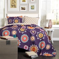 The Penelope Boho Bohemian Moroccan 3 PC Purple Bed Quilt SET