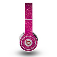 The Pink and Yellow Floral Vine Pattern Skin for the Original Beats by Dre Wireless Headphones
