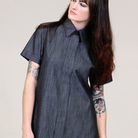 Black chambray tunic - faux button up shirt - LIMITED