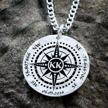 Silver Compass, date, GPS coordinates, and initials