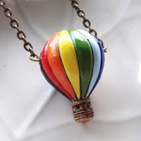 Hot Air Balloon Necklace  Ceramic Bead on by ForevermoreCreations