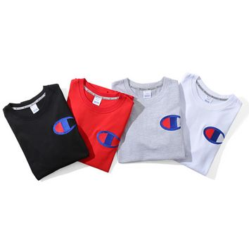 Embroidered LOGO short-sleeved chest big embroidery men and women couple short-sleeved T-shirt sports T-shirt