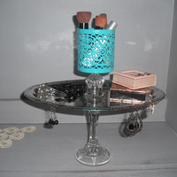 Upcycled Silver and Aqua Jewelry Make-Up stand ~ Pedestal server ~ Beach display ~ Vanity tray