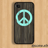 IPHONE 5 CASE mint peace sign in dark wood iPhone 4 case iPhone 4S case iPhone case Hard Plastic Case Soft Rubber Case