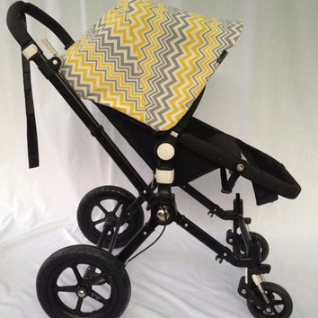 Sample Sale! Yellow and Grey Chevron Replacement Canopy or Hood for Bugaboo Cameleon or Cameleon3. 25% Off