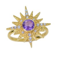 14k Gold Plated Sterling Silver Amethyst Sun Ring