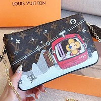LV Louis Vuitton New fashion monogram leather chain women shoulder bag crossbody bag