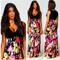 SIMPLE - Floral Printed Sleeveless V Neck a11861