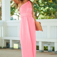 All For One Maxi Dress, Neon Pink