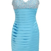 Dressystar Short Tiered Prom Cocktail Party Gowns Sparkling Beaded Top