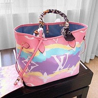 Lv 2020 summer gradient tie-dye monogram series onthego mommy bag  with mesh scarf colorful shopping bag Pink