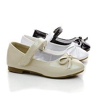 Gloria59KA By Link, Infant Girls Bow Mary Janes Hook Loop Dress Flats