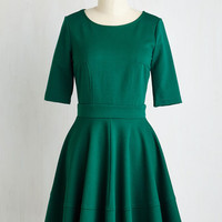 Short Length Short Sleeves A-line Dote Worry About It Dress in Emerald