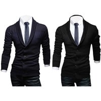 Shawl Collar Button Front Knitted Cardigan