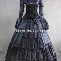 ON SALE 2016 Elegent Vintage Black Long Sleeve Steampunk Gothic Corset Victorian Dress Retro Medieval Stage Show Dresses Costume