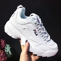 FILA street fashion men and women models non-slip breathable running shoes white