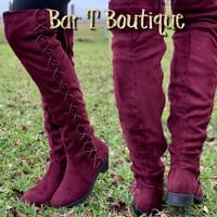 Burgundy Laced Knee High Boots