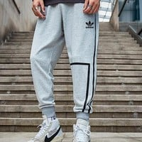 Adidas Popular Men Print Sport Pants Trousers Sweatpants Grey