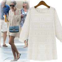 White Embroidered Lace Cuffed Sleeve Shift Dress