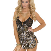 Satin Leopard Print Chemise with Black Lace Cups