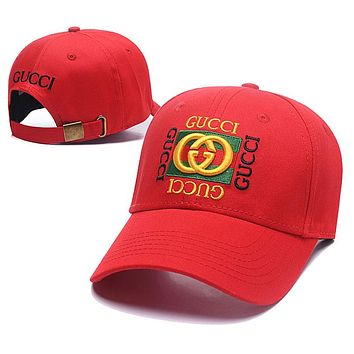 GUCCI Summer Men Embroidery Sports Sun Hat Baseball Cap Hat Red