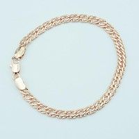 5mm Women Men 585 Gold Color Bracelets  Cut Hammered Chains Jewelry