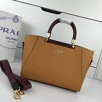 prada women leather shoulder bags satchel tote bag handbag shopping leather tote crossbody 349