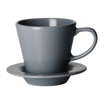 DINERA Coffee cup and saucer, gray-blue - IKEA