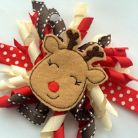 Christmas Reindeer Headband - Red Christmas Headband Photo Prop - Cute Headband for Christmas - Christmas Hair Bow - Polka Dot Headband -