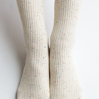 Women New Must Have Hezwagarcia Ivory Color Bocasi Colorful Threads Basic Essential Cotton Ankle Socks