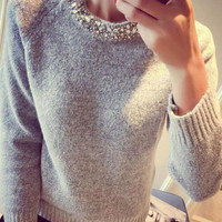 Beaded-Neck Knitted Sweater