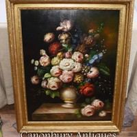 Canonbury - Large Victorian Flower Display Still Life Oil Painting