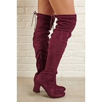 Arlene Over The Knee Boots (Burgundy)
