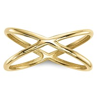 14k Gold Polished Double Ring