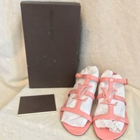 NEW Louis Vuitton Pink Patent Leather PARADISO Sandals Shoes 38, US 8, 8.5
