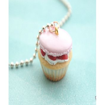 Strawberry Macaron Cupcake Necklace