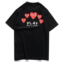 Play New fashion letter love heart eye print couple top t-shirt Black