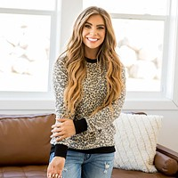 NEW! Krystie Brushed Leopard Top
