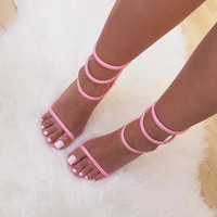 young ladies hot selling concise model pink strap sandals stiletto heel thin strappy dress shos size US10