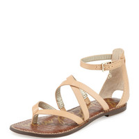 Gilroy Strappy Leather Flat Thong Sandal, Natural Naked